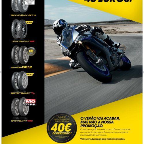 Dunlop oferece 40 euros de desconto em pneus de moto